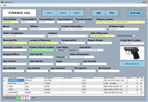 Screen shot of Evidence Log in PMI Evidence Tracker™