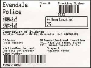Example Barcode Label from PMI Evidence Tracker™